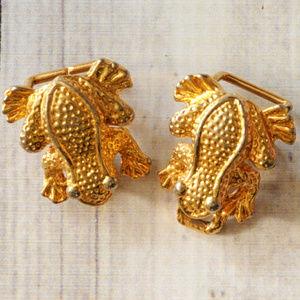 vintage gold frog belt buckle